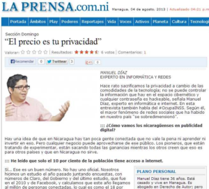 Entrevista sobre Redes Sociales, Marketing, Publicidad y Política en Internet de Nicaragua