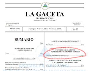 Acuerdo Administrativo 005-2013 de Telcor